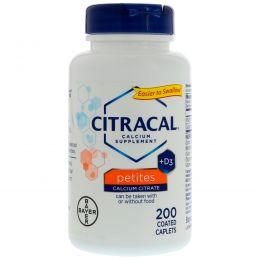 Citracal, Bayer, цитрат кальция + D3, маленькие таблетки, 200 таблеток, покрытых оболочкой