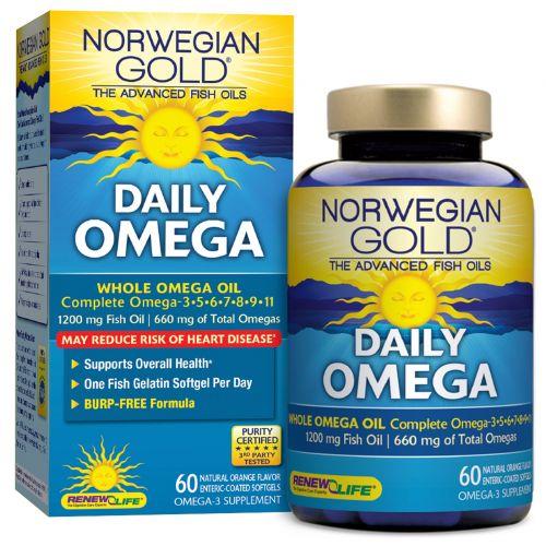 """Renew Life, Наилучший рыбий жир """"Норвежское золото"""", ежедневные омега-кислоты, с натуральным апельсиновым вкусом, 60 рыбных гелевых капсул"""