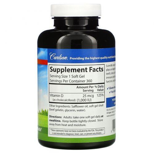 Carlson Labs, Vitamin D3, 25 mcg (1,000 IU), 360 Soft Gels