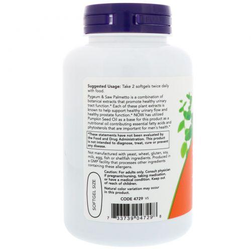 Now Foods, Слива и со пальметто, для мужского здоровья, 120 мягких капсул