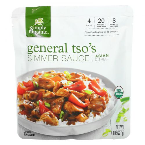Simply Organic, General Tso's Simmer Sauce, Asian Dishes, 8 oz (227 g)