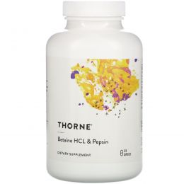 Thorne Research, Бетаин HCL и пепсин, 225 капсул в растительной оболочке