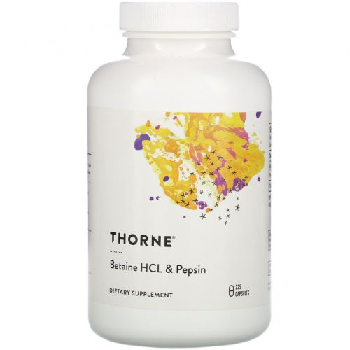 Thorne Research, Betaine HCL & Pepsin, 225 Capsules