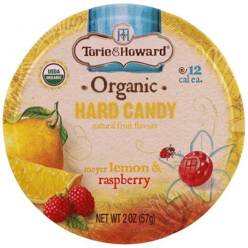 Torie & Howard, Органические, твердые конфеты Meyer, лимон и малина, 2 унц. (57 г)