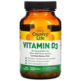 Country Life, Витамин D3, 1000 МЕ, 200 желатиновых капсул