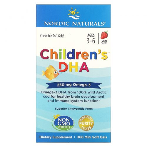 Nordic Naturals, Children's DHA, Strawberry, Ages 3-6, 250 mg, 360 Mini Soft Gels