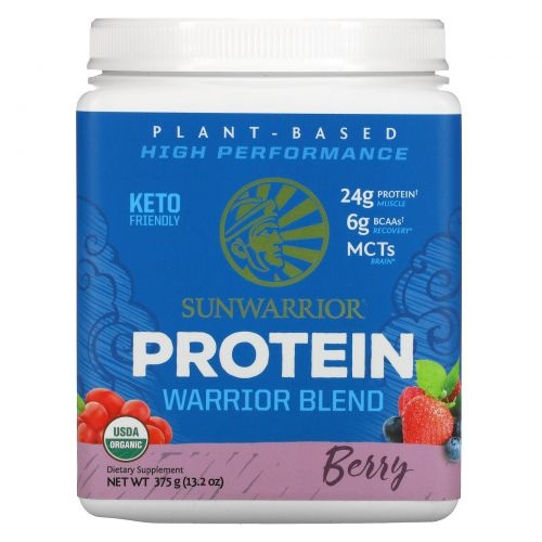 Sunwarrior, Warrior Blend, Plant-Based Organic Protein, Berry, 13.2 oz (375 g)