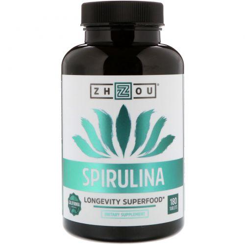Zhou Nutrition, Спирулина, суперпродукт для долголетия, 180 таблеток