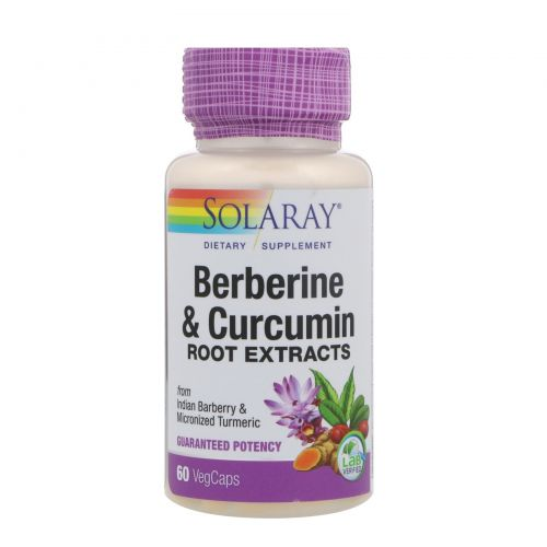 Solaray, Berberine & Curcumin, Root Extracts, 600mg, 60 VegCaps