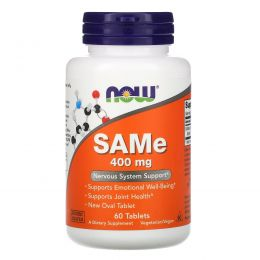 Now Foods,  SAM-e (S-Adenosyl-L-Methionine), 400 мг, 60 таблеток