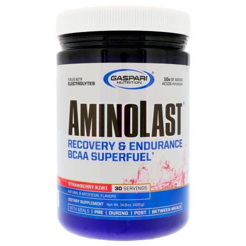 Gaspari Nutrition, Аминоласт, восстановление и выносливость по формуле BCAA Superfuel, клубника и киви, 14.8 унции(420 г)