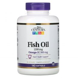 21st Century, Fish Oil, Omega-3, 1200 mg / 360 mg, 140 Softgels