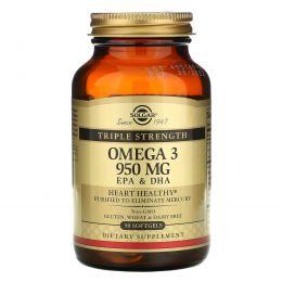 Solgar, Омега-3 тройной силы, 950 мг, ЭПК и ДГК, 50 мягких желатиновых капсул
