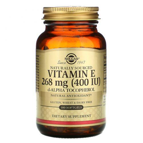 Solgar, Натуральный витамин Е, 400 МЕ, 100 желатиновых капсул
