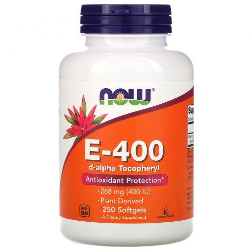 Now Foods, E-400, 100% Натуральный d-альфа токоферол, 250 желатиновых капсул