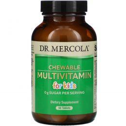 Dr. Mercola, Детские жевательные мультивитамины со вкусом фруктов, 60 таблеток