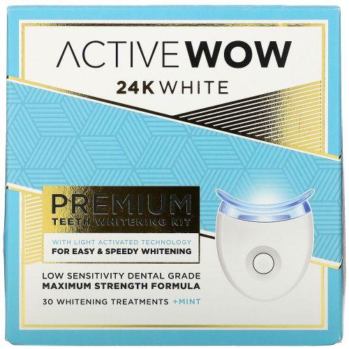 Active Wow, 24K White, Premium Teeth Whitening Kit, + Mint, 30 Treatments