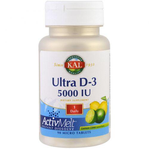 KAL, Ultra D-3 ActivMelt, Lemon Lime, 5000 IU, 90 Micro Tablets