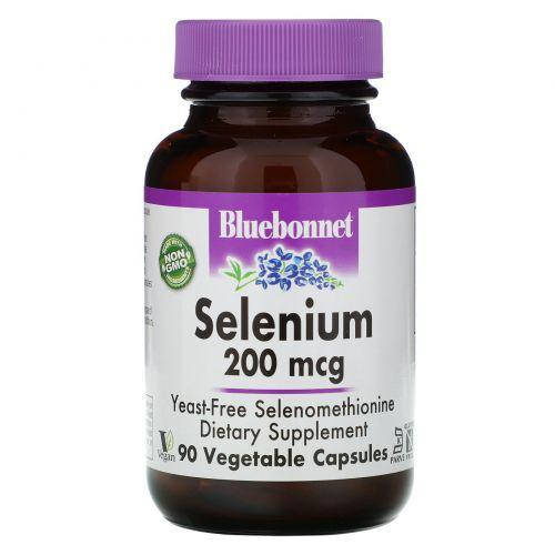 Bluebonnet Nutrition, Селен, бездрожжевой селенометионин, 200 мкг, 90 вегетарианских капсул