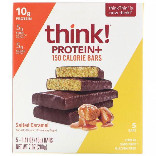 ThinkThin, Батончики с 150 калориями и протеином, соленая карамель, 5 батончиков, 40г (1,41 унции) каждый