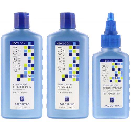 Andalou Naturals, Стволовые клетки аргании, система для редеющих волос, антивозрастная, набор из 3 предметов