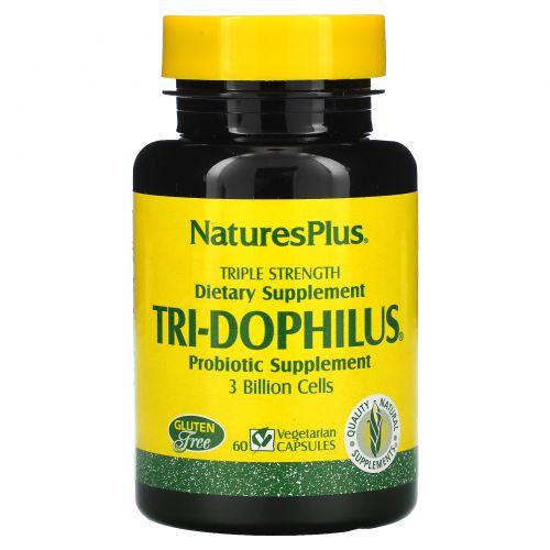 Nature's Plus, Три-дофилус, пробиотическая пищевая добавка, 60 вегетарианских капсул