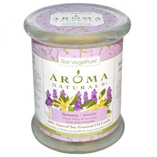 """Aroma Naturals, 100% Натуральная Соевая Свеча «Безмятежность» с Эфирными Маслами Иланг-Иланга и Лаванды, 8.8 унций (260 г) 3"""" х 3,5"""""""