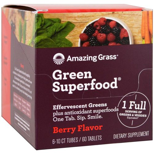 Amazing Grass, Green Superfood, шипучая добавка, вкус ягод, 6 тюбиков, по 10 таблеток в каждом