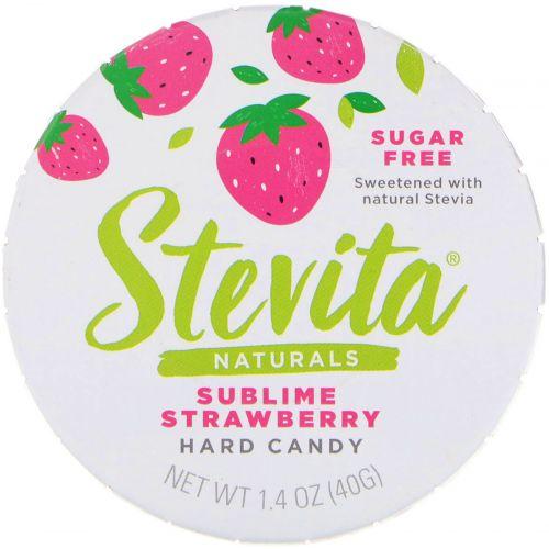 Stevita, Naturals, леденцы без сахара, величественная клубника, 40 г