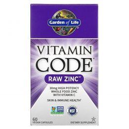 Garden of Life, Витаминный код, необработанный цинк, 60 растительных капсул