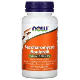 Now Foods, Сахаромицеты Буларди, поддержка желудочно-кишечного тракта, 60 вегетарианских капсул