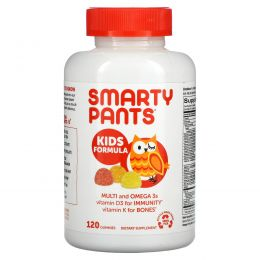SmartyPants, Kids Complete Multivitamin с рыбьим жиром, содержащим омега-3 кислотами, витаминами D3 и B12, 120 жевательных конфет