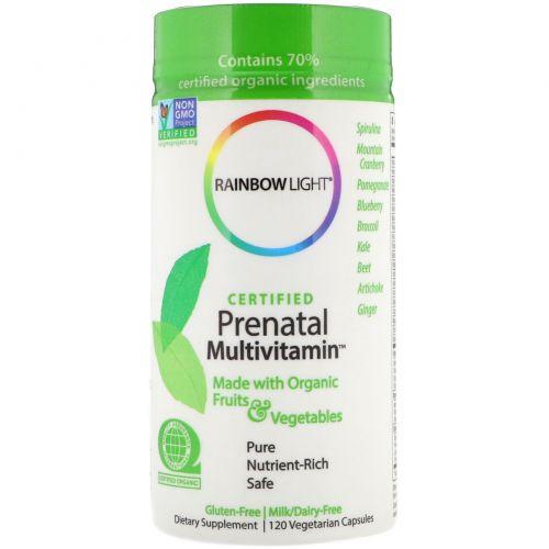 Rainbow Light, Сертифицированные органические мультивитамины для беременных, 120 вегетарианских капсул