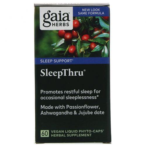 Gaia Herbs, SleepThru, 60 растительных, жидких Phyto-Caps