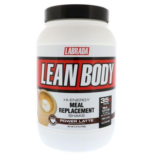 Labrada Nutrition, Lean Body, высокопротеиновый коктейль, заменитель пищи, мощный латте, 2,47 унций (1120 г)