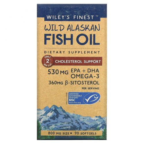Wiley's Finest, Wild Alaskan Fish Oil, Cholesterol Support, 90 Softgels