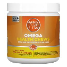 Ready Pet Go, Omega Health Chews, Skin and Fur Support For Dogs, All Ages, Fish Oil + Cheese, 90 Soft Chews