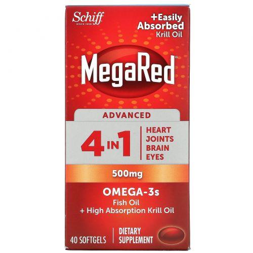 Schiff, MegaRed, Advanced 4 In 1 Omega-3s, 500 mg, 40 Softgels