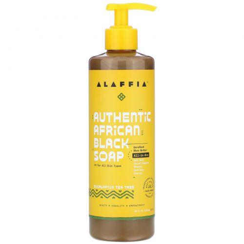 Alaffia, Настоящее африканское черное мыло, Эвкалиптовое дерево, 16 унций (475 мл)