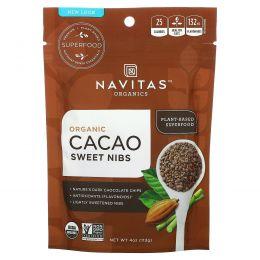 Navitas Organics, Натуральная крупка из сладкого шоколада, сладкая какао-крупка, 4 унции (113 г)