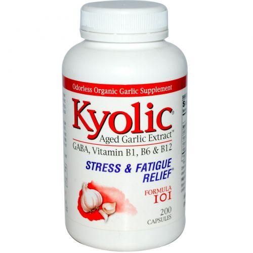 Kyolic, Выдержанный экстракт чеснока, снятие стресса и усталости, формула 101, 200 капсул