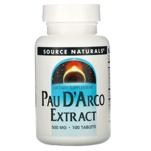 Source Naturals, Экстракт По д'Арко, 500 мг 100 таблеток
