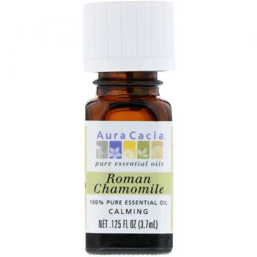 Aura Cacia, 100% чистое эфирное масло римской ромашки, 0.125 жидкой унции (3.7 мл)
