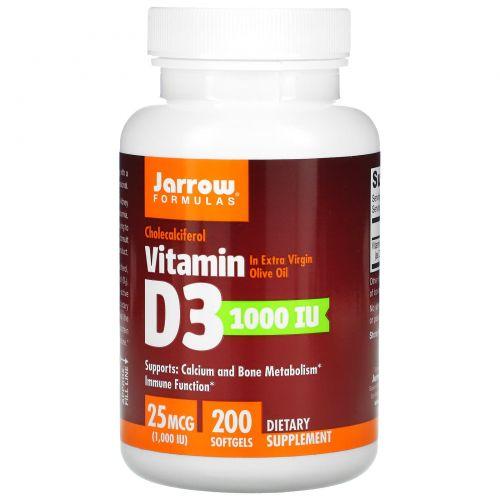 Jarrow Formulas, Витамин D3,  холекальциферол, 1000 МЕ, 200 мягких желатиновых капсул