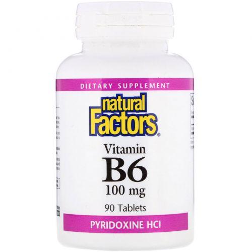 Natural Factors, B6, пиридоксин HCl, 100 мг, 90 таблеток