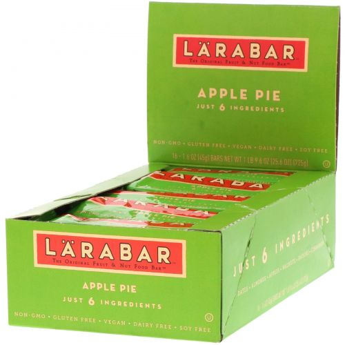 Larabar, Яблочный пирог, 16 батончиков, 1,6 унции (45 г) каждый