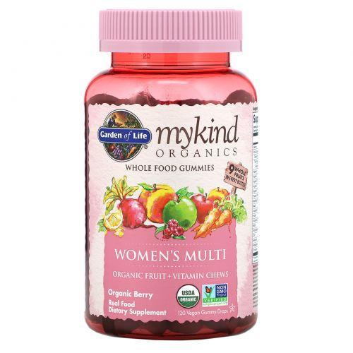 Garden of Life, Mykind Organics, женские мультивитамины, органические ягоды, 120 жевательных конфет