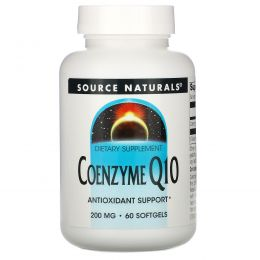 Source Naturals, Коэнзим Q10, 200 мг, 60 гелевых капсул