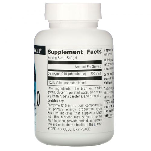 Source Naturals, Коэнзим Q10, 200 мг, 60 гелевых капсул
