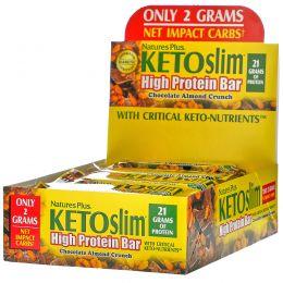 Nature's Plus, KETOslim, батончик с высоким содержанием протеина, шоколад и миндаль, 12 батончиков по 2,1 унции (60 г) каждый